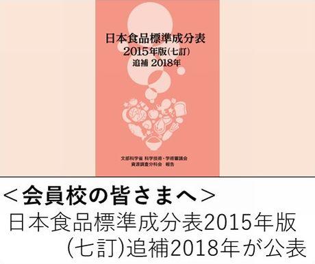 <会員校の皆さまへ>「日本食品標準成分表2015年版(七訂)追補2018年」が公表されました